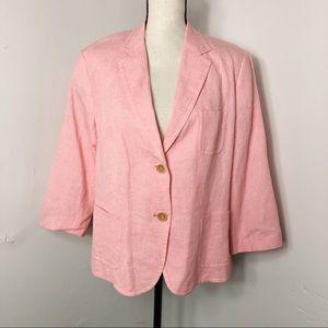 NWT Talbots Grace Fit Linen Blend Blazer Jacket 14